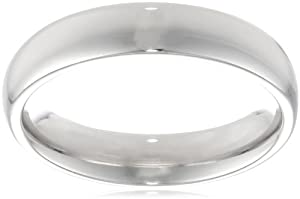 Platinum Comfort-Fit Plain Wedding Band (4 mm), Size 5