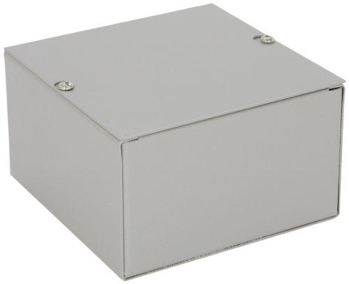 "Bud Industries Jb-3945 Steel Nema 1 Sheet Metal Junction Box With Lift-Off Screw Cover, 6"" Width X 6"" Height X 3-1/2"" Depth, Gray Finish"