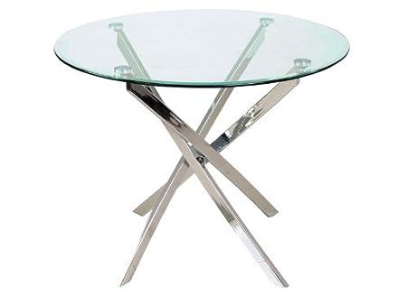 Jadella Agis Table ronde en verre design Idéale pour cuisine ou salle à manger 90 cm