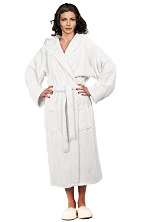 White Terry BathRobe, Pure Cotton Hooded Terry Robe: Clothing