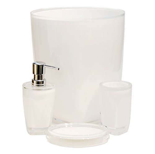 Qg 4 pc modern clear white acrylic plastic bathroom for White bathroom tumbler