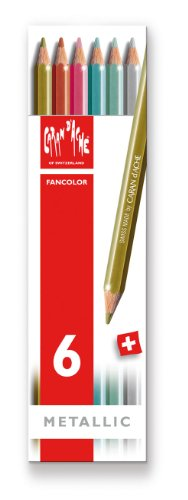Caran d'Ache Fancolor Color Pencils, 6 Metallic Colors