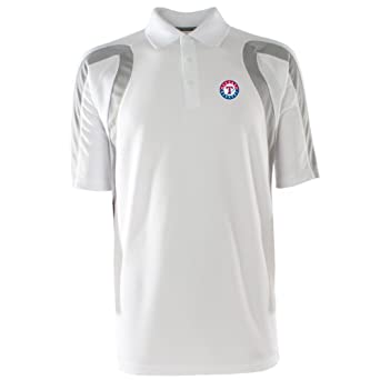 MLB Mens Texas Rangers Point Desert Dry Polo (White Silver, X-Large) by Antigua
