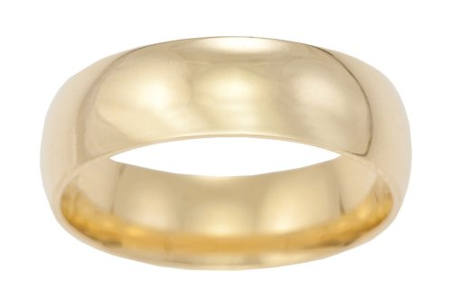Men's Wedding Ring, 9 Carat Yellow Gold Medium Court Shape, 6mm Band Width