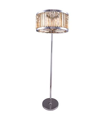 Urban Lights Chelsea 6-Light Floor Lamp, Polished Nickel/Golden Teak