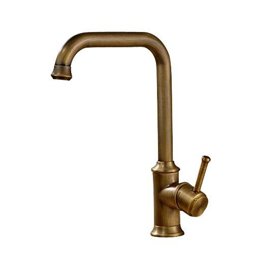 Vintage Deck Mount Single Hanle Control Single Hole Mixer Taps Swivel Lavatory Basin Taps Basic Style Antique Brass Tall Spout Vessel Bathroom Faucet 0