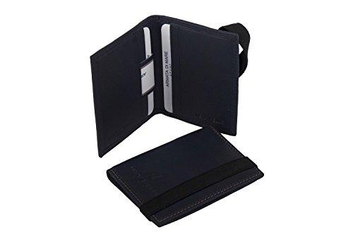 Mini porta carte di credito verticale ARMATA DI MARE blu in vera pelle A5403