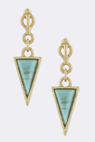 Contempo Couture Isosceles Triangle Bezel Set Earrings (Gold/Turquoise)