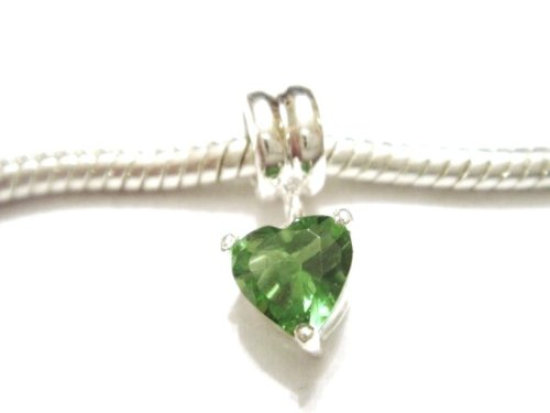 Authentic 925 sterling silver peridot heart