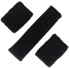Buy 3 piece Sweatband Set - 1 Headband & 2 Wristbands - Black - Sports - Tennis by IGC