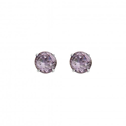 14K White Gold 3Mm Round June Birthstone Cz Basket Stud Earrings