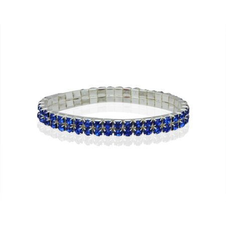MizEllie Costume Jewellery Sparkle Me Sapphire and Diamante Stretch Bangle Bracelet,Can Make An Ideal Gift With Free Elegant Organza Jewellery Pouch
