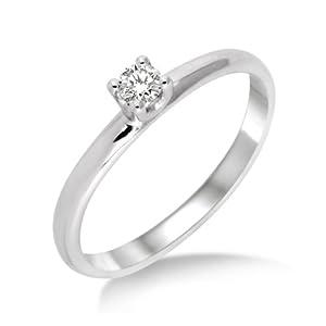 Miore Damen-Ring 375 Weißgold mit Brillant 0.10ct M9013RM Gr. 52
