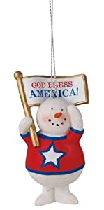 "4"" Glittered Resin Patriotic Snowman Holding Flag Christmas Ornament"