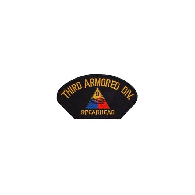 US Army Military Armed Forces Large Hat or Shirt Iron On Patch   3rd Armored Division Spearhead Applique