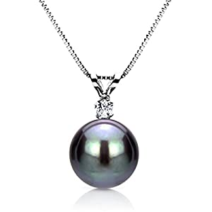 14k White Gold .05tcw Diamond 10-11mm Round Black Tahitian Cultured Pearl Pendant Necklace, 18