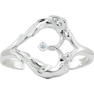 Sterling Silver Universal Love Heart Cuff Bracelet