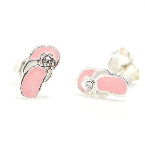 """Pro Jewelry .925 Sterling Silver """"Light Pink Flip Flop Sandal W/ White Crystal"""" Stud Earrings For Children & Women Eese 65"""