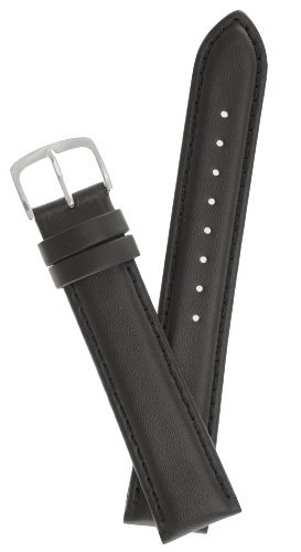 Mens Padded Genuine Leather Watchband - Color Black - 22mm Width - Extra Long Watch Band - by JP Leatherworks (Extra Long Watch Band compare prices)