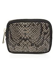Autograph Leather Faux Snakeskin Zip Purse