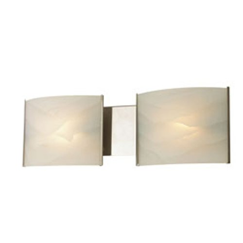 Alico Lighting BV712-10-16 Vanity, Stainless Steel Finish with White Opal Glass Shades
