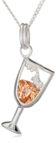 Silver Crystal Champagne Glass Pendant + Curb Chain 41 cm