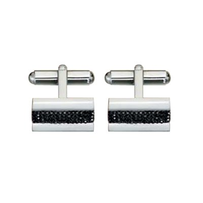 Crystal Mens Cuff Links In Stainless Steel