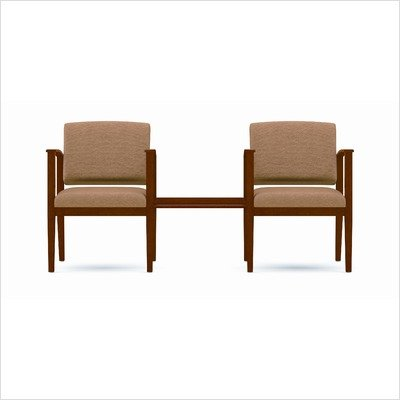 Amherst Two Chairs with Connecting Center Table Fabric: Heather - Leaf, Frame Finish: Cherry
