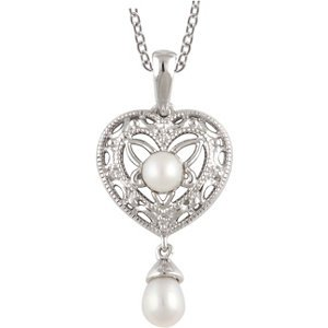 Freshwater Cultured Pearl & .02 ct tw Diamond 18