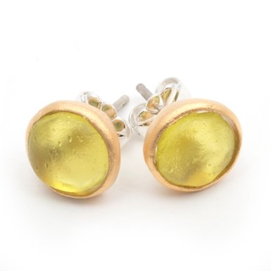 Glass Circle Stud Earrings by Michael Vincent Michaud (Olive)