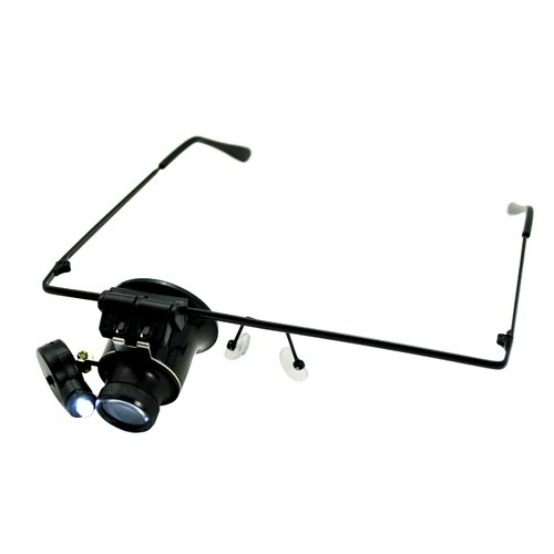 Siam Circus 20X Glasses Type Watch Repair Magnifier with LED Light - Black
