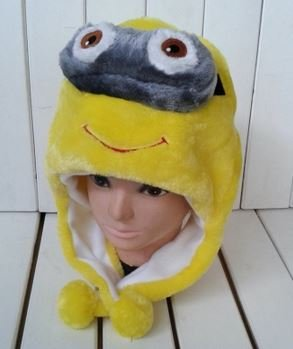 Despicable Me Minion Plush Hat with Eye Flaps Free Size - 1