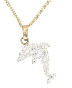Evoke - Gold'n'Ice - Damenanhänger mit Kette 333/- Gelbgold 42/45cm Delphin Swarovski Kristalle 500341072L-45