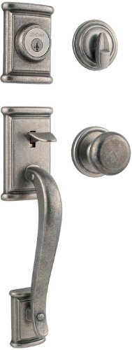 Kwikset Ashfield Single Cylinder Handleset W/Hancock Knob Featuring Smartkey® In Rustic Pewter front-148217