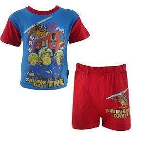Sam pompiere, ragazzi 100% cotone pigiama corti 2 colori, Blu, Sei