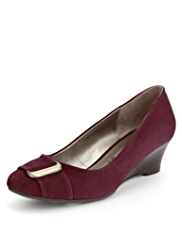 Footglove™ Suede Buckle Trim Wide Fit Wedge Shoes