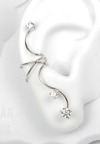 Sterling Silver 3 Cubic Zirconia Full Ear Cuff Style Right Pierceless