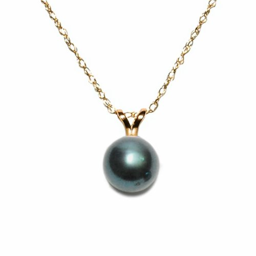 14k Yellow Gold AA 7.5x8mm Black Freshwater Cultured Pearl Pendant Necklace, 18
