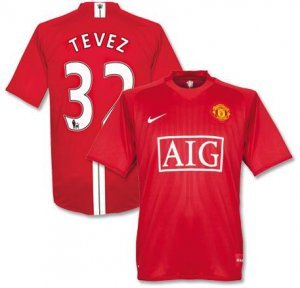 08-09 MANCHESTER UNITED HOME JERSEY TEVEZ + FREE SHORT (SIZE L)