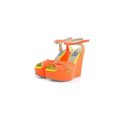 Sandali Love Moschino in vernice arancione fluo, 41