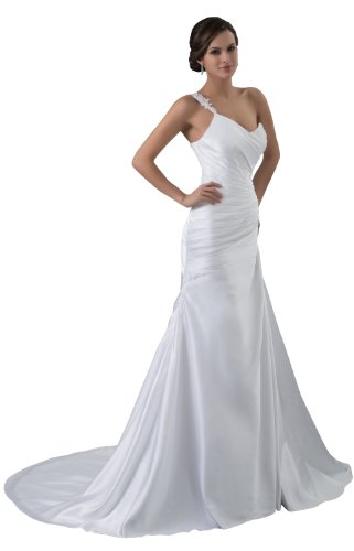herafa One-Shoulder Mermaid Wedding Dress Cathedral Train Rows of Lace & Delicate Beading White Size:6