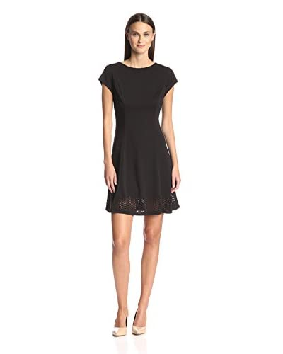 Susana Monaco Women's Fit-and-Flare Dress with Laser Cut Hem