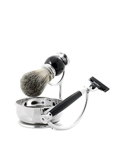 Bey-Berk Mach 3 Razor & Badger Brush with Soap Dish, Black Enamel Chrome