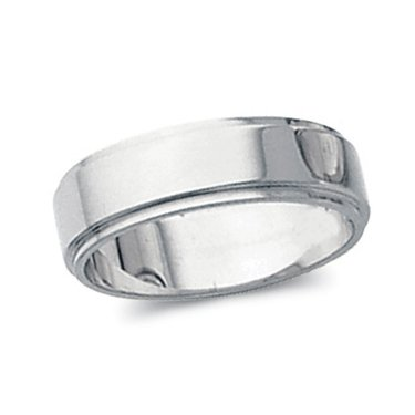 10K White Gold, Flat Edged Wedding Band 5MM (sz 4.5)