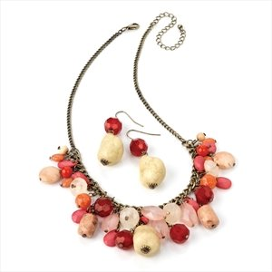 Ladies Inspiring Pattern Design Burnished Gold Effect Multi Bead Set Brand New