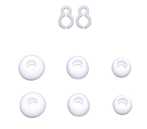 3 Sizes Replacement Earbuds Tips Ear Gels Bud Cushions & 2 Replacement Plastic Hooks For Lg Tone Hbs-700 & Tone + Hbs-730 Bluetooth Stereo Headset (White)