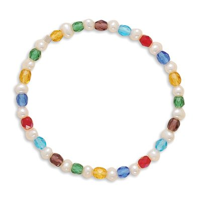 6 Inch Multicolor Glass and Cultured Freshwater Pearl Stretch Bracelet