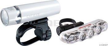 Cateye UNO Headlight & TL-LD610 Taillight Combo Set White.