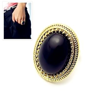 Vintage art deco retro style black oval stone with bronze Style me up fashion trim rings