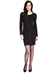 M&S Collection Floral Lace Bodycon Knitted Dress with Wool